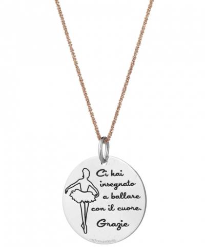 Collana in argento 925% con Medaglia incisa per la Maestra di Danza