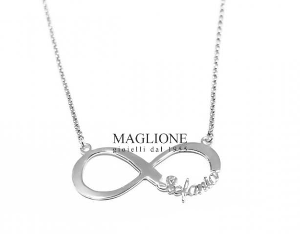 Collana Infinito personalizzabile con nome in acciaio anallergico bianco