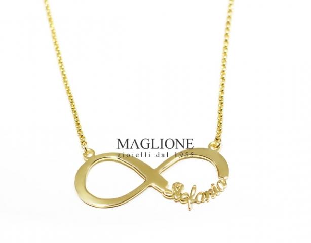 Collana Infinito personalizzabile con nome in acciaio anallergico placcato oro