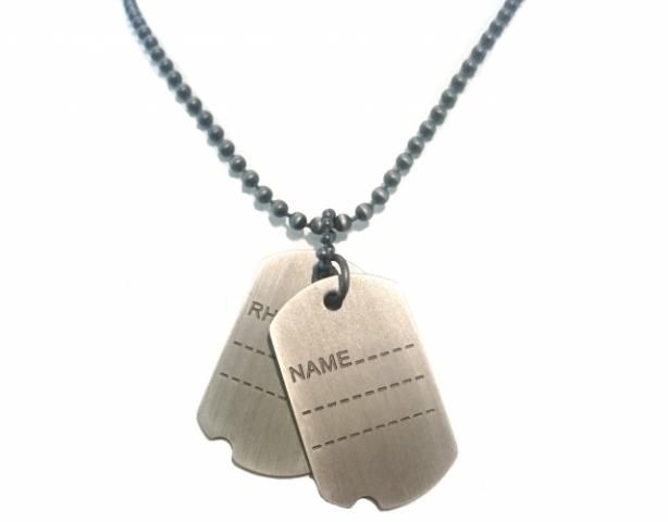 Collana lunga con Piastrine Militari in acciaio brunito personalizzabili