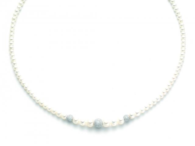 Collana Miluna con Perle Naturali in oro bianco 18kt PCL2044B