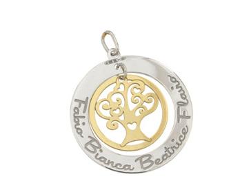 Collana My Charm collezione Family albero della vita in oro giallo e bianco 18kt personalizzabile con nome