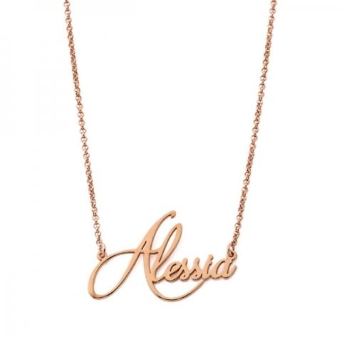 Collana My Charm in argento 925% giallo rosa o bianco con nome in corsivo personalizzabile