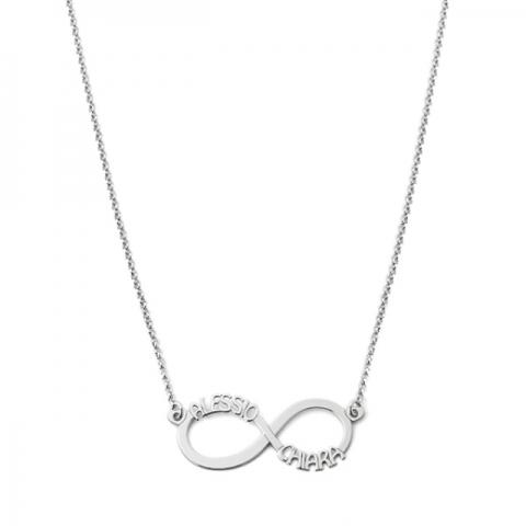 Collana My Charm Infinito in argento 925% giallo rosa o bianco personalizzabile con nome