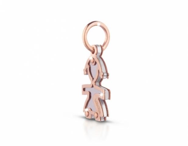Componente per il Bracciale o Collana LeBebè - Lock Your Love - pendente Bimba in argento 925% e oro rosa