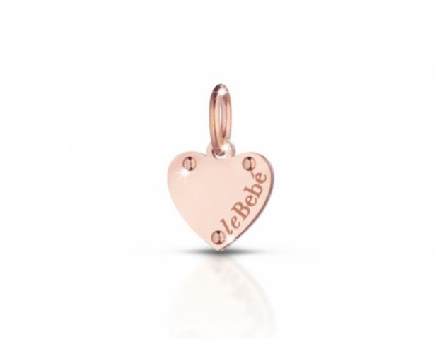 Componente per il Bracciale o Collana LeBebè - Lock Your Love - pendente Cuore in argento 925% e oro rosa