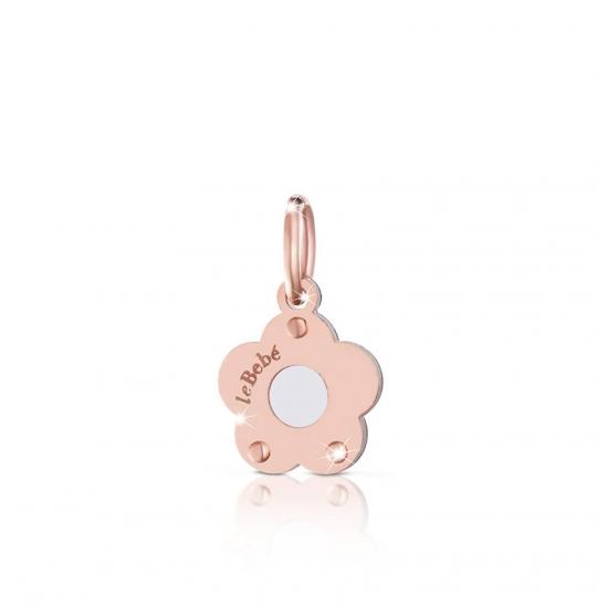 Componente per il Bracciale o Collana LeBebè - Lock Your Love - pendente Fiore Potentilla in argento 925% e oro rosa