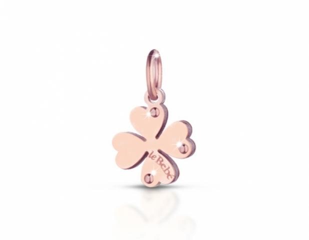Componente per il Bracciale o Collana LeBebè - Lock Your Love - pendente Quadrifoglio in argento 925% e oro rosa