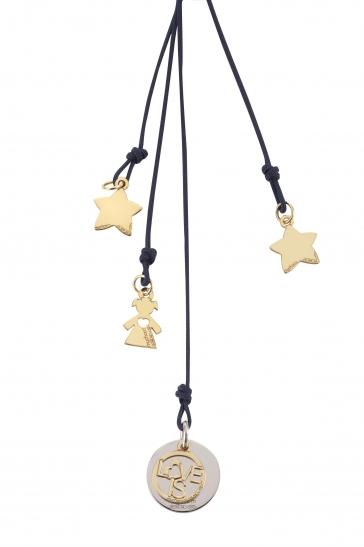 Cordino con ciondolo My Charm bimba e stelle collezione Love is in oro giallo, bianco o rosa 18kt