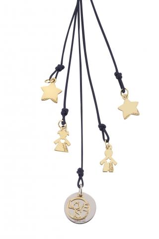 Cordino con ciondolo My Charm bimbo, bimba e stelle collezione Love is in oro giallo, bianco o rosa 18kt