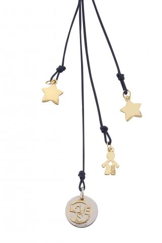 Cordino con ciondolo My Charm bimbo e stelle collezione Love is in oro giallo, bianco o rosa 18kt