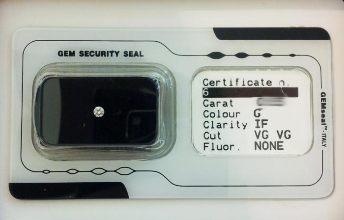 Diamante naturale in blister certificato da 0.29ct G color e purezza IF