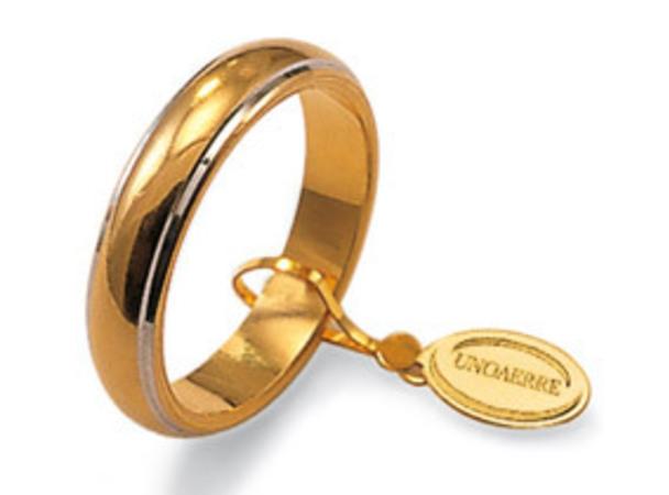 check-out 91e1c e2c4b Fede Nuziale Unoaerre Classica da 7 grammi oro giallo 18kt con bordino oro  bianco 18kt