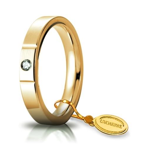 Fede Nuziale Unoaerre comoda Cerchi di Luce 3.5 mm in oro bianco 18kt con diamante