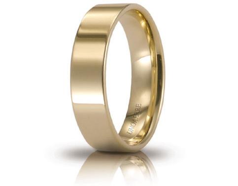 Fede Nuziale Unoaerre comoda Cerchi di Luce 5 mm in oro giallo 18kt