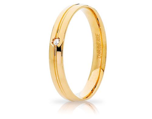 LYRA - 18K Yellow Gold Natural Diamond Wedding Ring Unoaerre