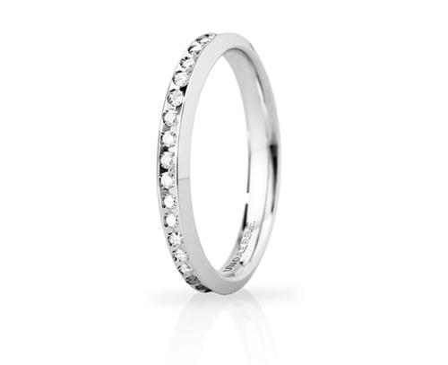 Fede Nuziale Unoaerre modello Venere Slim in oro bianco 18kt e diamanti fino al n. 18
