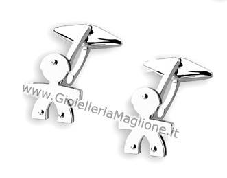 Le Bebè - 9K White Gold Boy Cufflinks customizable with name