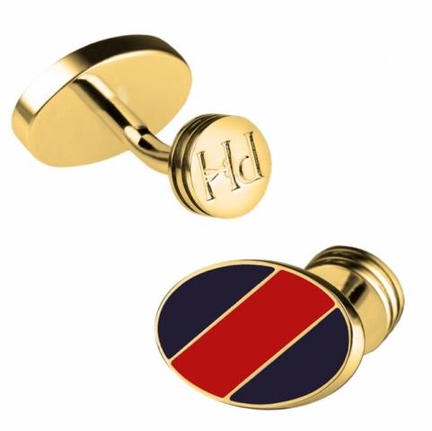Gemelli Paul Hewitt in acciaio lucido placcato oro con smalto blu nautico e rosso