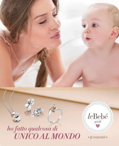 Girocollo ciondolo Punto Luce Le Bebè - gli Inseparabili - bimbo e bimba in oro rosa 18kt e diamante da 0.12ct