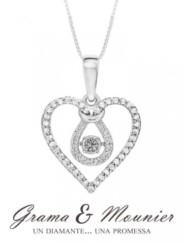 Girocollo con Cuore Grama & Mounier con Diamanti da 0.49ct in oro bianco 18kt GM082