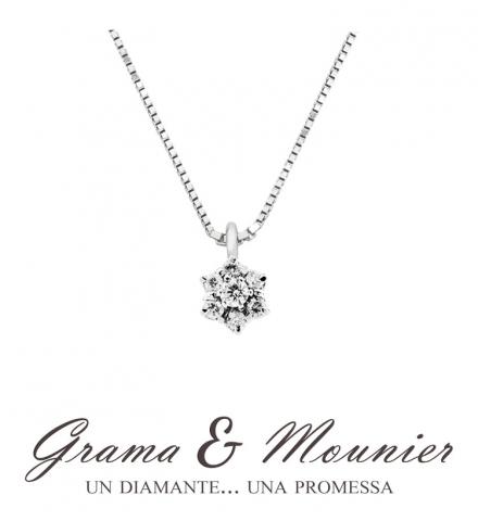 Girocollo fantasia Grama & Mounier con Diamanti da 0.25ct in oro bianco 18kt GM091