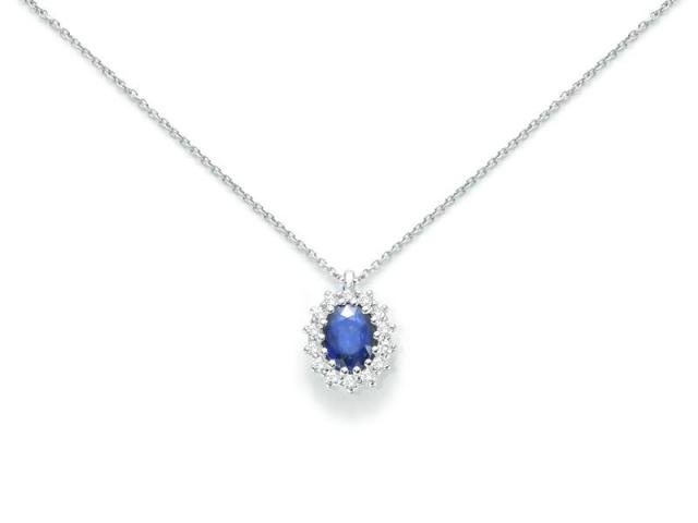 Girocollo Miluna collezione Kate con Zaffiro da 1.50ct e Diamanti in oro bianco 18kt CLD3690