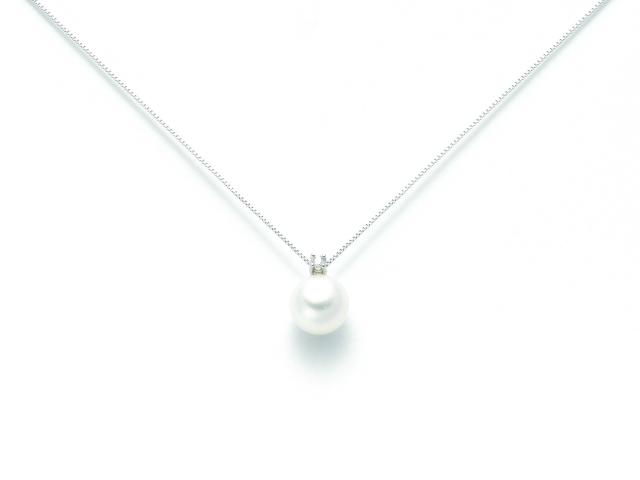 Girocollo Miluna con Perla Naturale e Diamanti da 0.04ct in oro bianco PCL3931VX