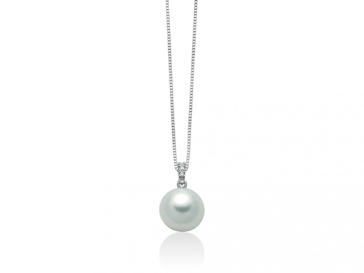 Girocollo Miluna con Perla Naturale e Diamanti da 0.013ct in oro bianco PCL5501X