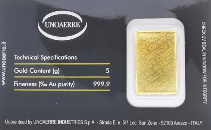 Lingottino UNOAERRE in oro puro 999% da 5 grammi per investimento