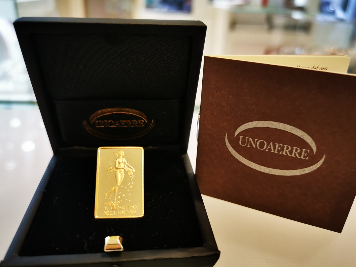 Lingotto UNOAERRE - Il Lingottino della Fortuna - in oro 750% da 20 grammi