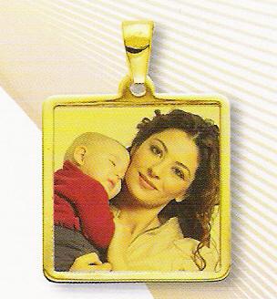 Medaglia foto personalizzabile 2 soggetti mod. NE/colore oro giallo 18kt