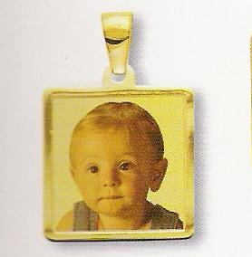 Medaglia foto personalizzabile mod. NA/colore oro giallo 18kt