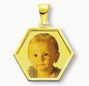 Medaglia foto personalizzabile mod. NH/colore oro giallo 18kt