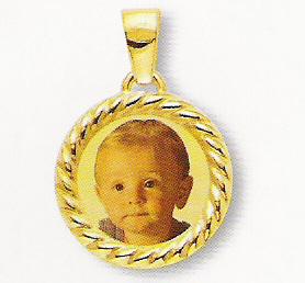 Medaglia foto personalizzabile mod. RC/colore oro giallo 18kt
