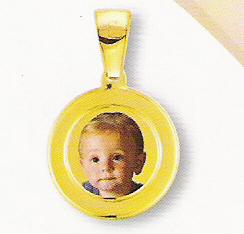 Medaglia foto personalizzabile mod. RD/colore oro giallo 18kt