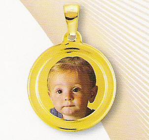 Medaglia foto personalizzabile mod. RE/colore oro giallo 18kt