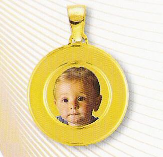 Medaglia foto personalizzabile mod. RH/colore oro giallo 18kt