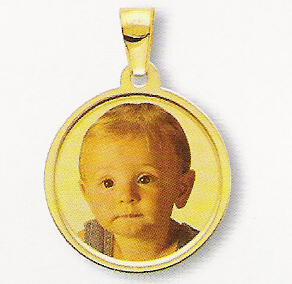 Medaglia foto personalizzabile mod. RI/colore oro giallo 18kt