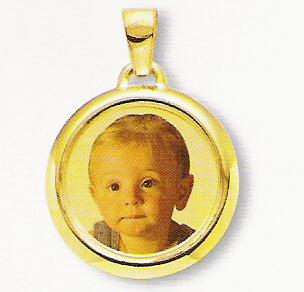 Medaglia foto personalizzabile mod. RN/colore oro giallo 18kt