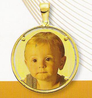 Medaglia foto personalizzabile mod. RUA/colore oro giallo 18kt