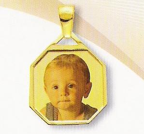 Medaglia foto personalizzabile mod. SC/colore oro giallo 18kt