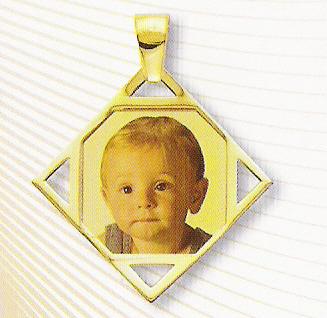Medaglia foto personalizzabile mod. SE/colore oro giallo 18kt