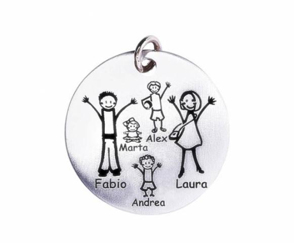 Medaglia grande Happy Family in argento 925 e oro rosa personalizzabile con la tua famiglia