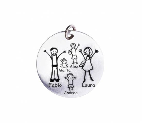 Medaglia media Happy Family in argento 925 e oro rosa personalizzabile con la tua famiglia