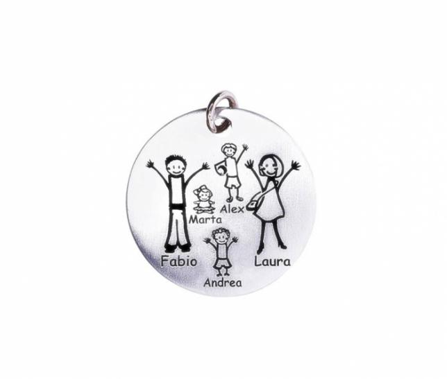Medaglia piccola Happy Family in argento 925 e oro rosa personalizzabile con la tua famiglia