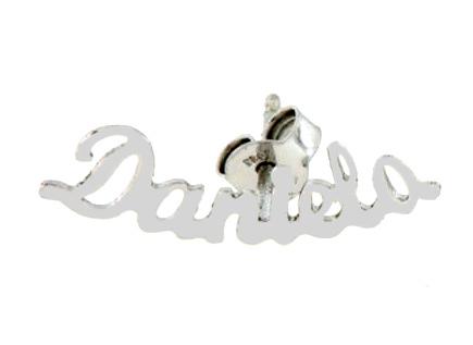 Mono orecchino personalizzabile con nome in oro bianco 18kt
