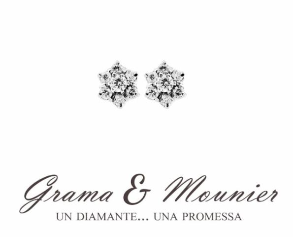 Orecchini fantasia Grama & Mounier con Diamanti da 0.50ct in oro bianco 18kt GM092