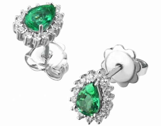 Orecchini Goccia Roger Gems con Smeraldi e Diamanti Naturali IF in oro bianco 18kt