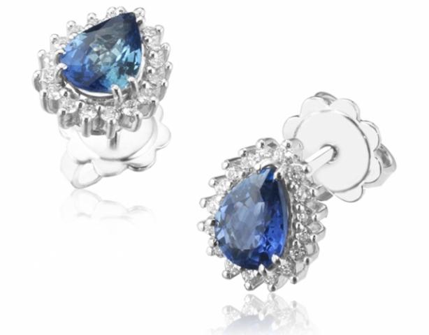 Orecchini Goccia Roger Gems con Zaffiro e Diamanti Naturali IF in oro bianco 18kt